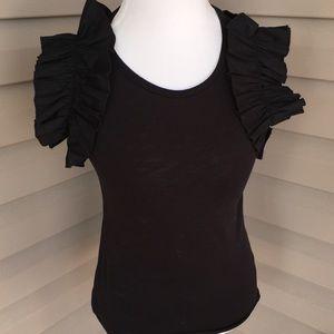 Tops - Black Ruffle short sleeve Shirt